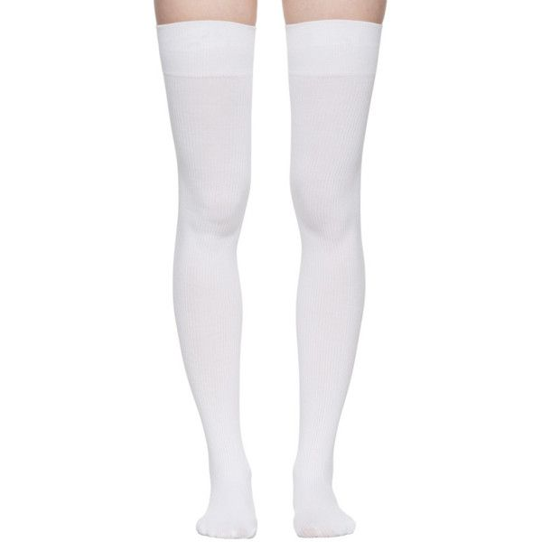 277b48026880e Marieyat White Doodle Thigh-High Socks ($27) ❤ liked on Polyvore featuring  intimates, hosiery, socks, extra, legs, socks and tights, thigh-high socks,  ...