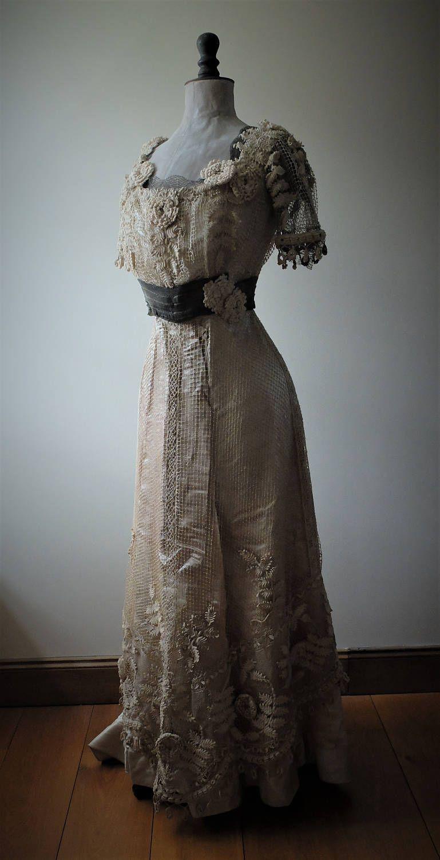 Antique, Edwardian cream crochet lace and silk, wedding