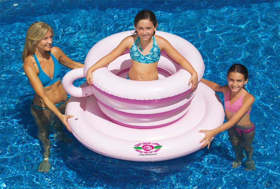 54 Inch Tea Cup Spinner Float Kid Pink Swimming Pool Party Lounge Swimline 90930 Swimline Cool Pool Floats Cute Pool Floats Pool Floats