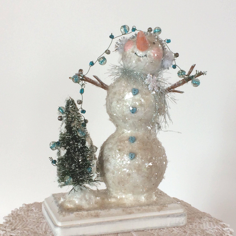 Christmas Gift Appeal: Snowman Sculpture, Snowman Ornament, Vintage Appeal