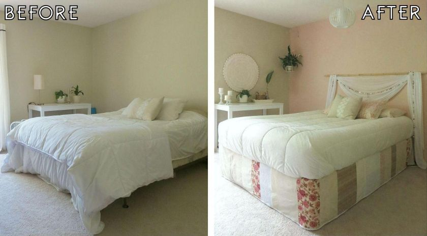 Bedroom Makeovers Before And After before after parsons desk round world market bathmat wall hanging