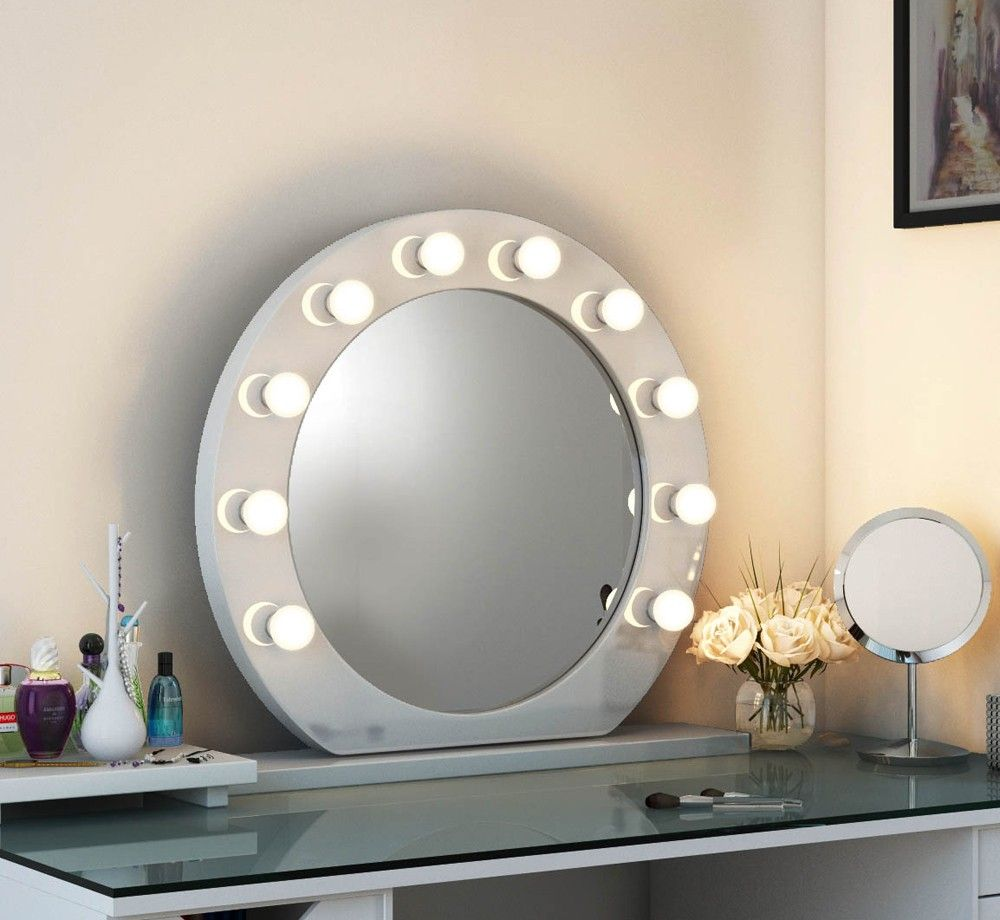 High Gloss Circle Led Hollywood Mirror White High Gloss