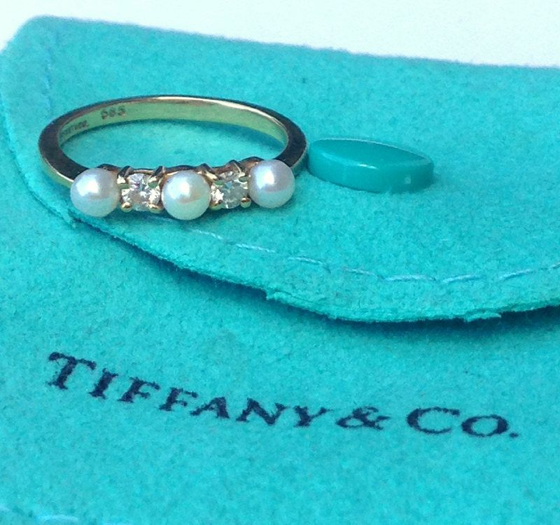 5f882c8ae1 FOR SALE. Tiffany Pearl and Diamond Ring from the Stack Collection. Call 704-277-4060  or visit us on Etsy