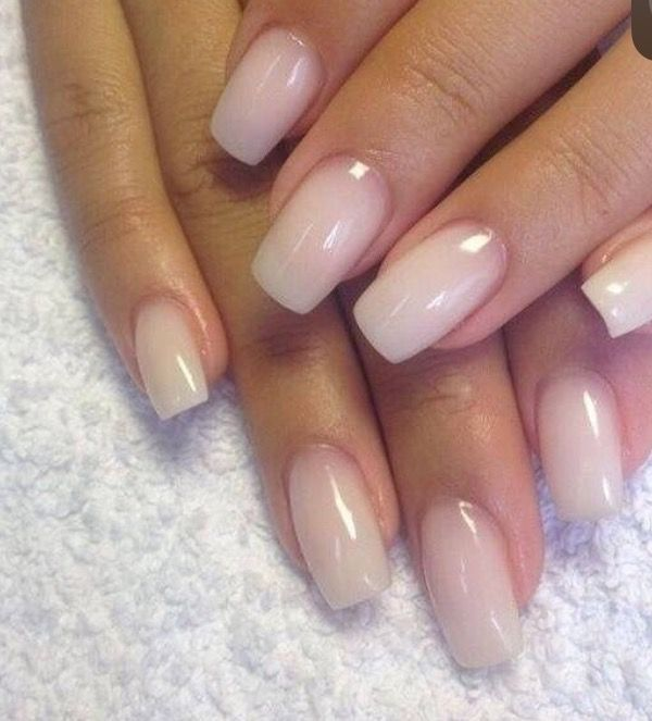 Pretty Nude Clear Glossy Nails Gonna Have To Get These For Work Just Because I Cant Do My Normals