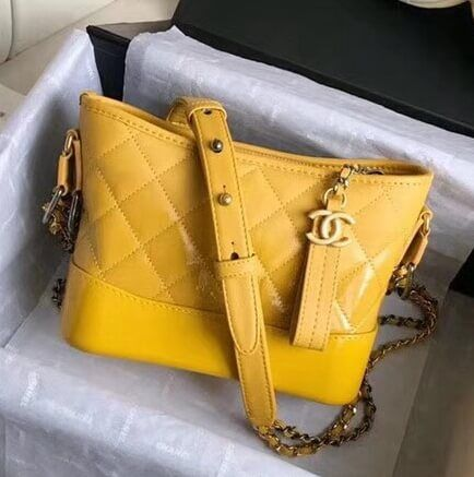 23479d2a202fae Chanel Gabrielle Small Hobo Bag In Patent Goatskin/Goatskin A91810 Yellow  2018