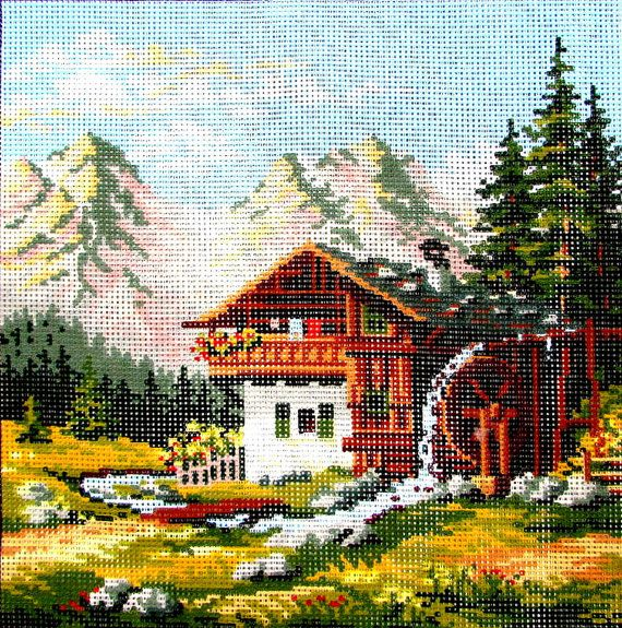 """NEEDLEPOINT CANVAS*//""""Alpen Millhouse"""" By Tapex Vienna. A Scene  in  Austrian Mountains. An Out of Print Canvas. //Was (125.00 Dollars)Now!!"""