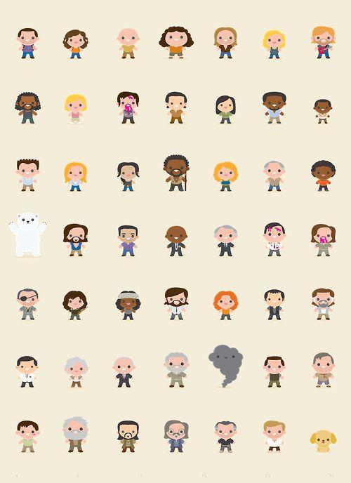 Desenho animado dos personagens de Lost. Owwn eles são tão fofos❤.