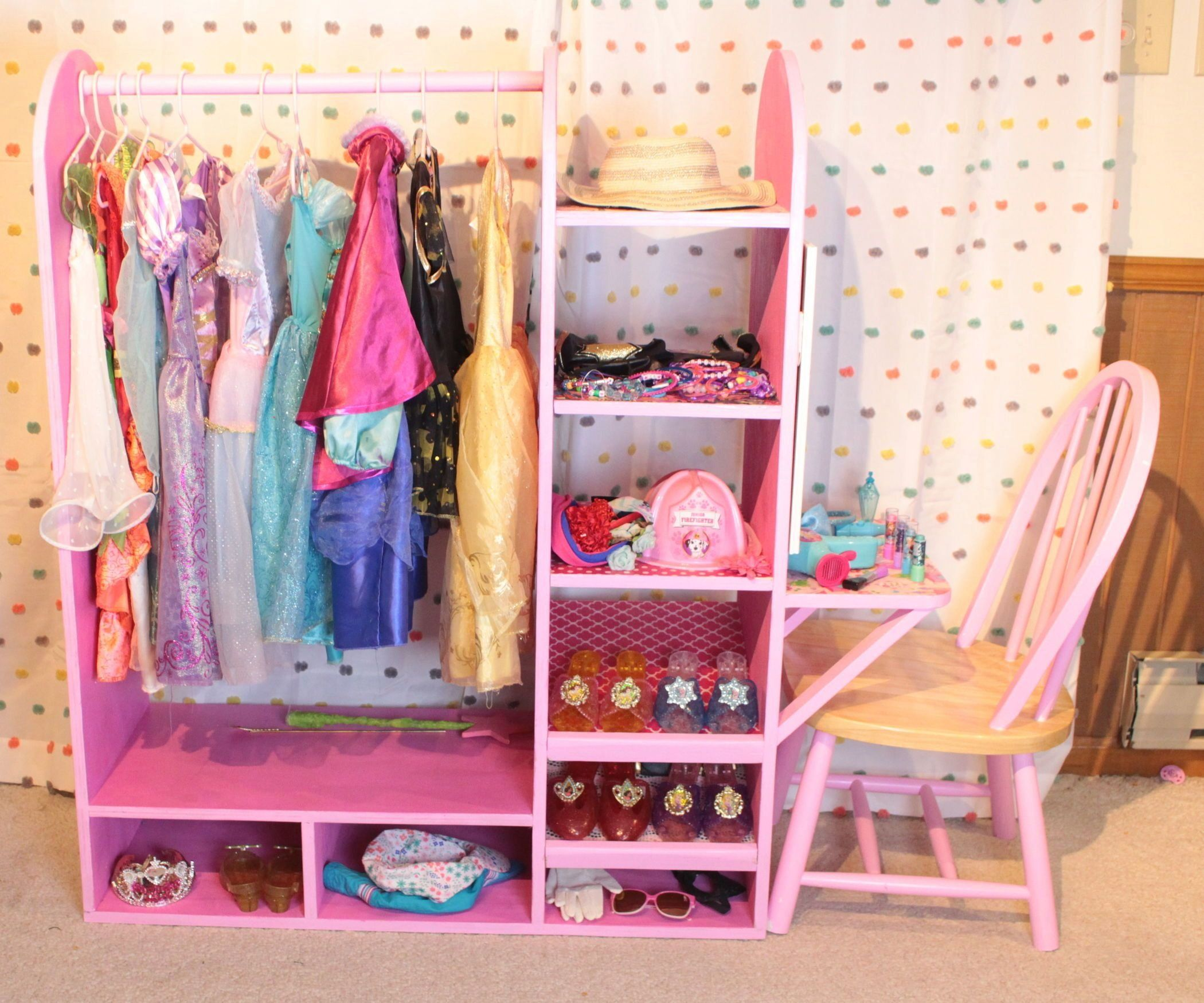 Diy Dress Up Station With Vanity In 2020 Diy Girls Bedroom