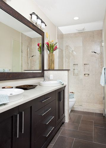 Long and narrow guest bath eclectic bathroom other for Narrow toilet ideas