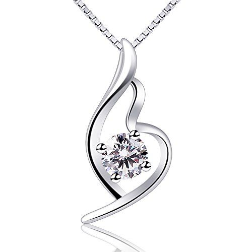 B.Catcher S925 Sterling Silver Heart Necklace Cubic Zirconia Pendant Classic Love Women Necklaces with Box Chain Zl3ts2lf