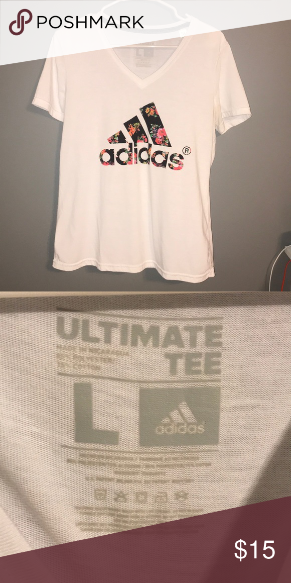 sports shoes 76f2c 80775 Adidas Tee Adidas Tee with flowers in the logo. adidas Tops Tees - Short  Sleeve