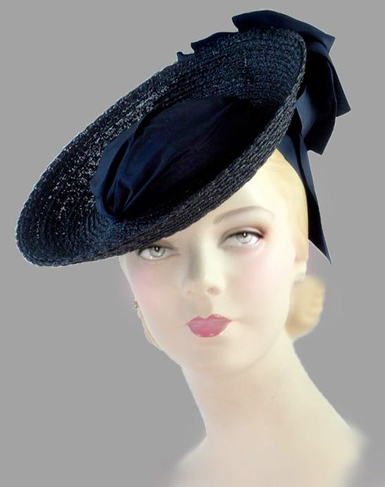 Horsehair and taffeta tilt hat, c. 1939.