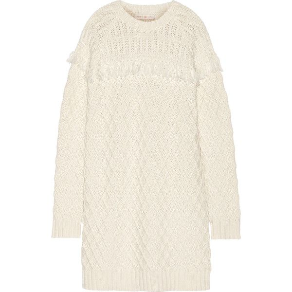 Tory Burch Fringed cable-knit wool sweater dress (590 TND) ❤ liked on
