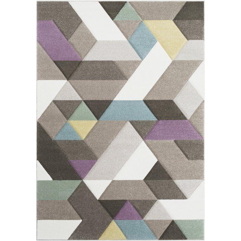 Best Tabatha Modern Geometric Carved Gray Purple Area Rug 640 x 480