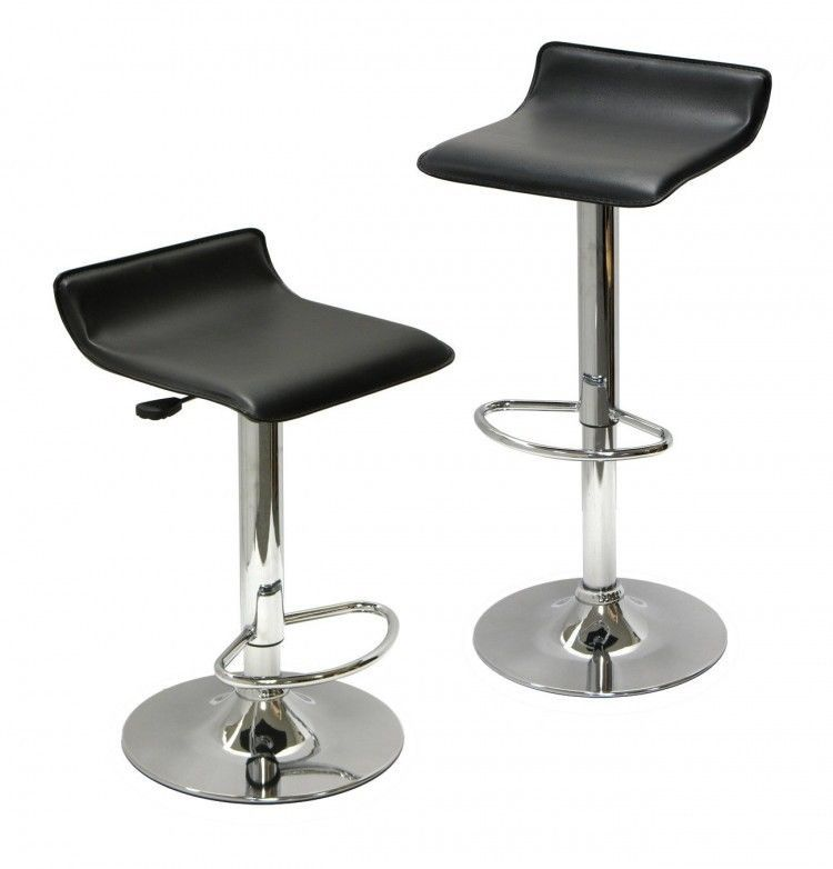 Swivel Bar Stools Adjustable Lift Chairs Set Of 2 Black Chrome