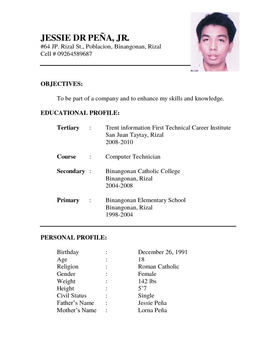 Free Example Resume Resume Example Format For Ojt Latest Free Templates Biodata