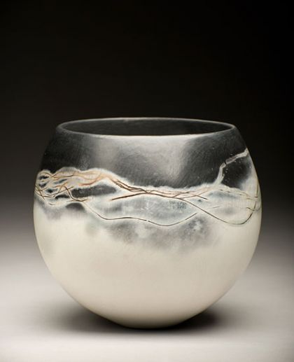 Black and white ceramics by June Ridgway at Studiopottery.co.uk - 2011. Height: 310mm burnished, saggar fired