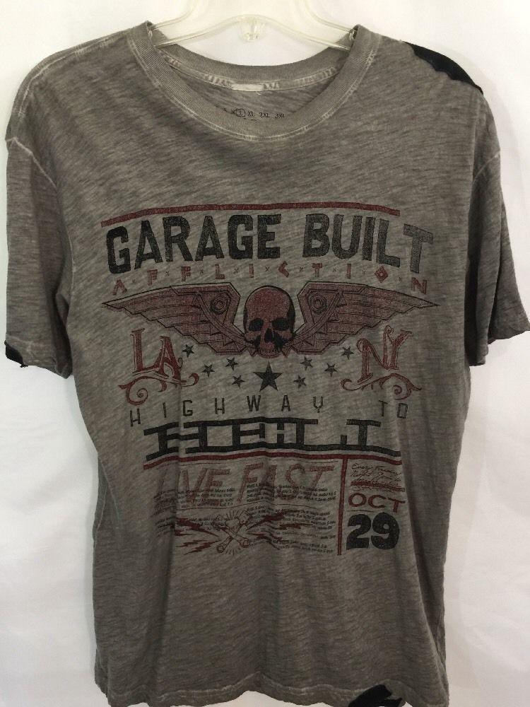 Affliction live fast shirt l large skullwings garage