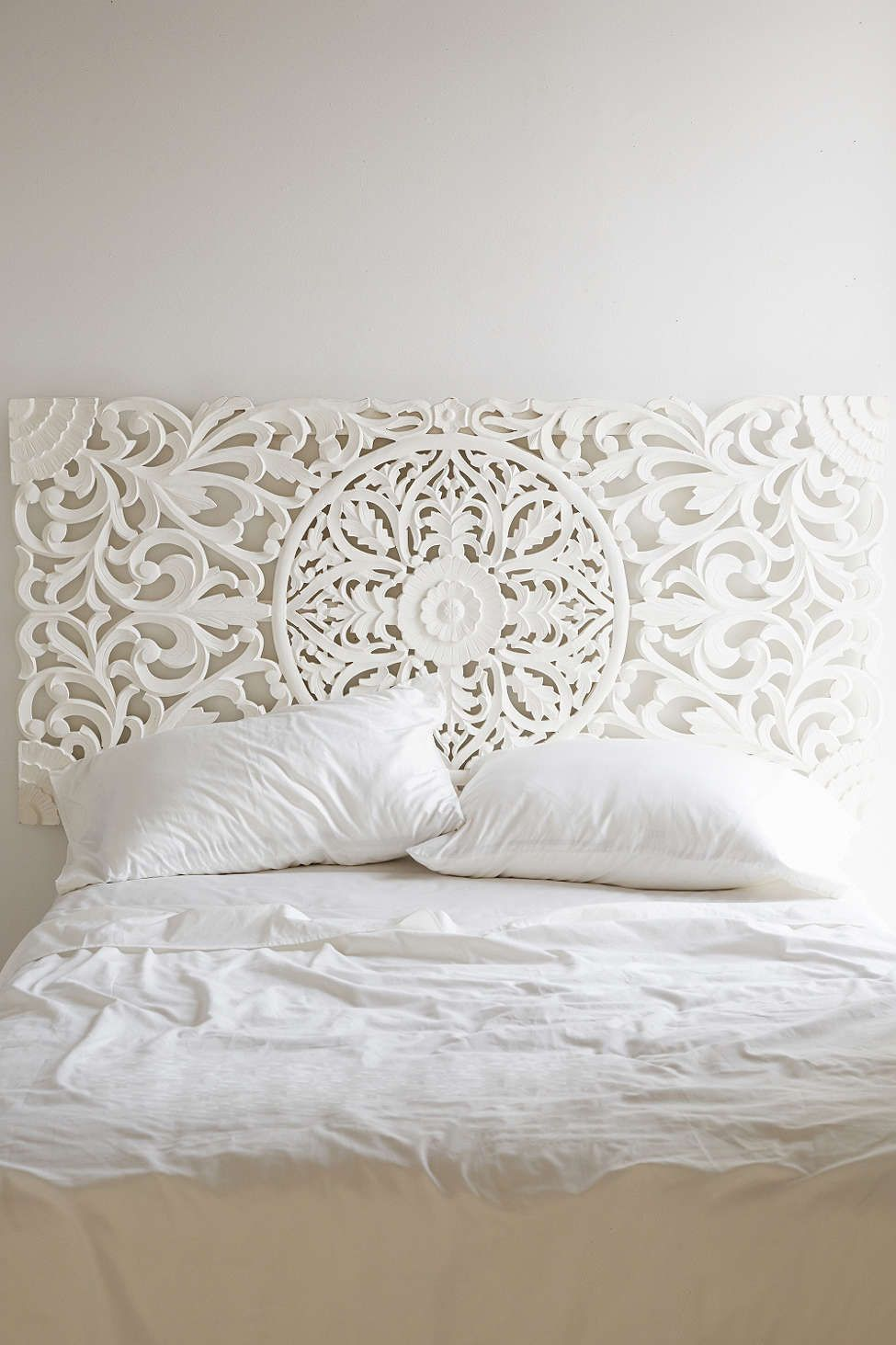 White Carved Wood Headboard Home Decor