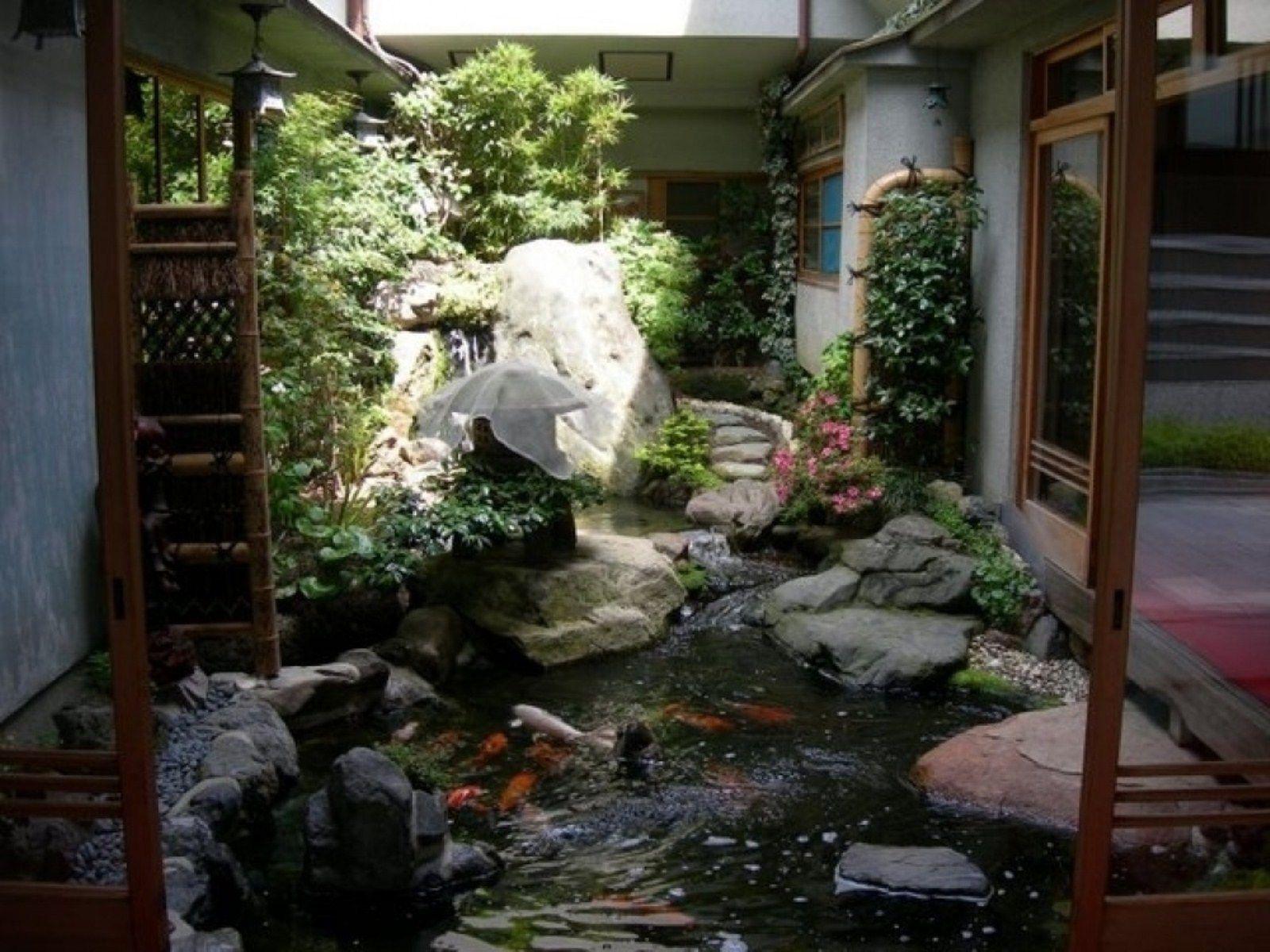Exterior Garden Design Ideas Graded Indoor Waterfall Fountain Made ...