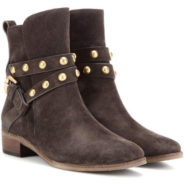 See By Chloé Embellished Suede Ankle Boots ($430) ❤ liked on Polyvore featuring shoes, boots, ankle booties, ankle shoes, brown, suede ankle bootie, see by chloe booties, brown bootie, suede booties and short suede boots