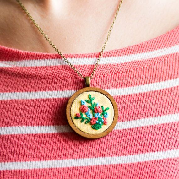 Floral necklace hand embroidered nature inspired от skrynka