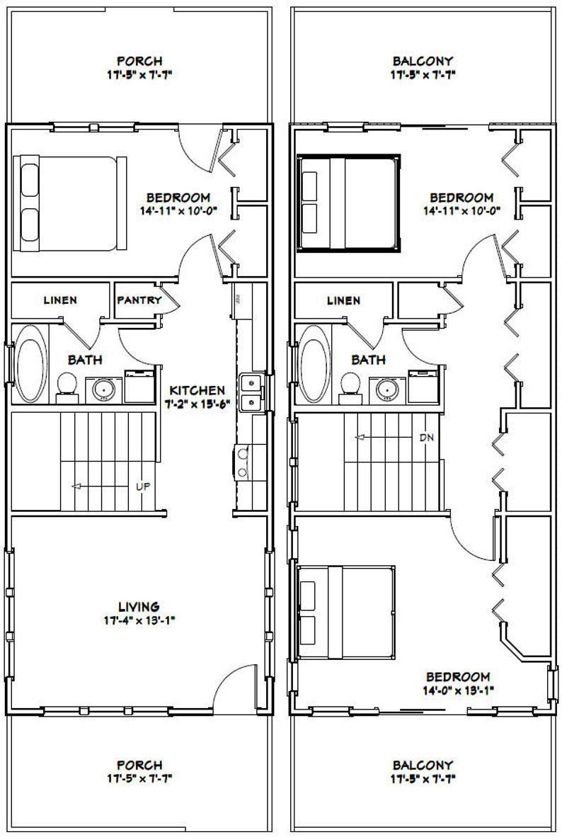 18x40 House 3 Bedroom 2 Bath 1 292 sq ft PDF Floor Plan Instant Download Model 10