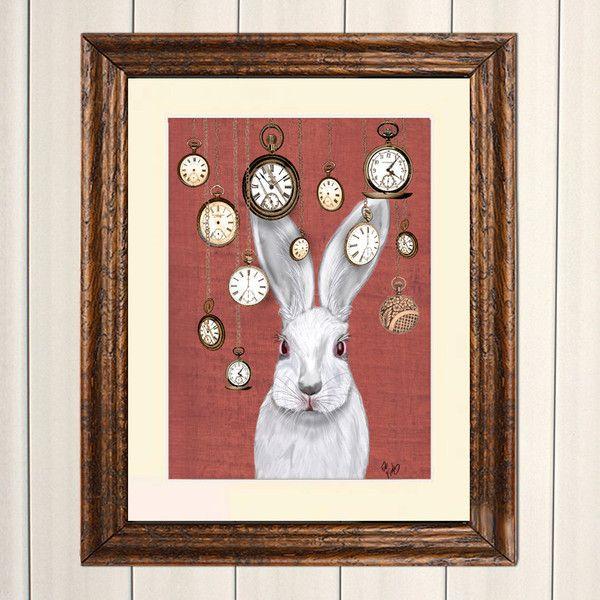 Rabbit Time Art Print White Rabbit Alice in Wonderland Print... ($28) ❤ liked on Polyvore