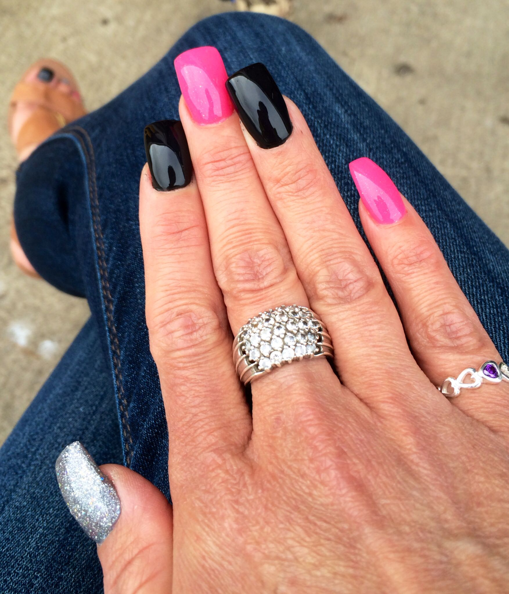 pink black silver gel nails! | black nail designs | pinterest