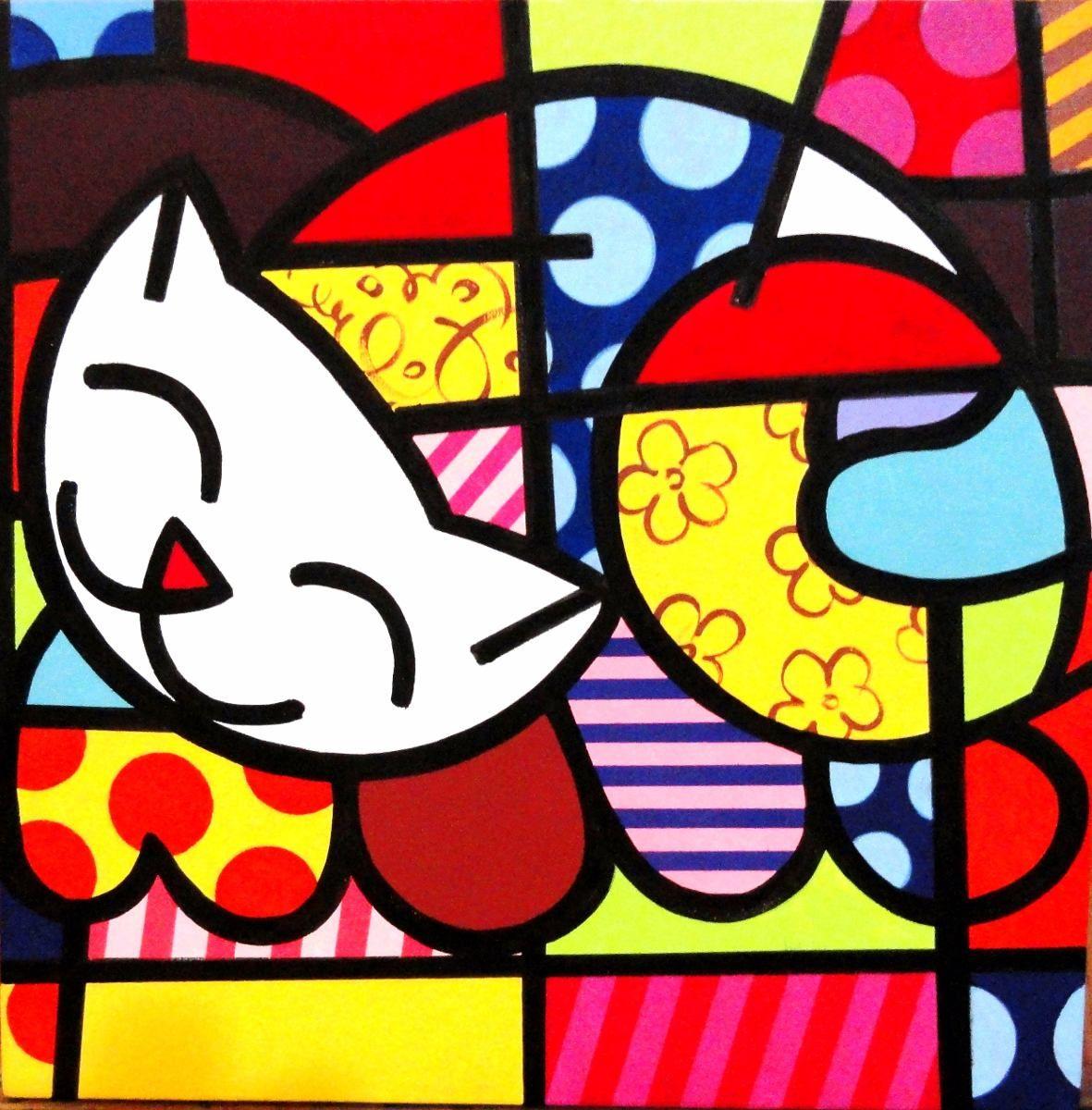 603d26ab5 Quadro Pintura Em Tela - Gato Feliz - Romero Britto - R  219