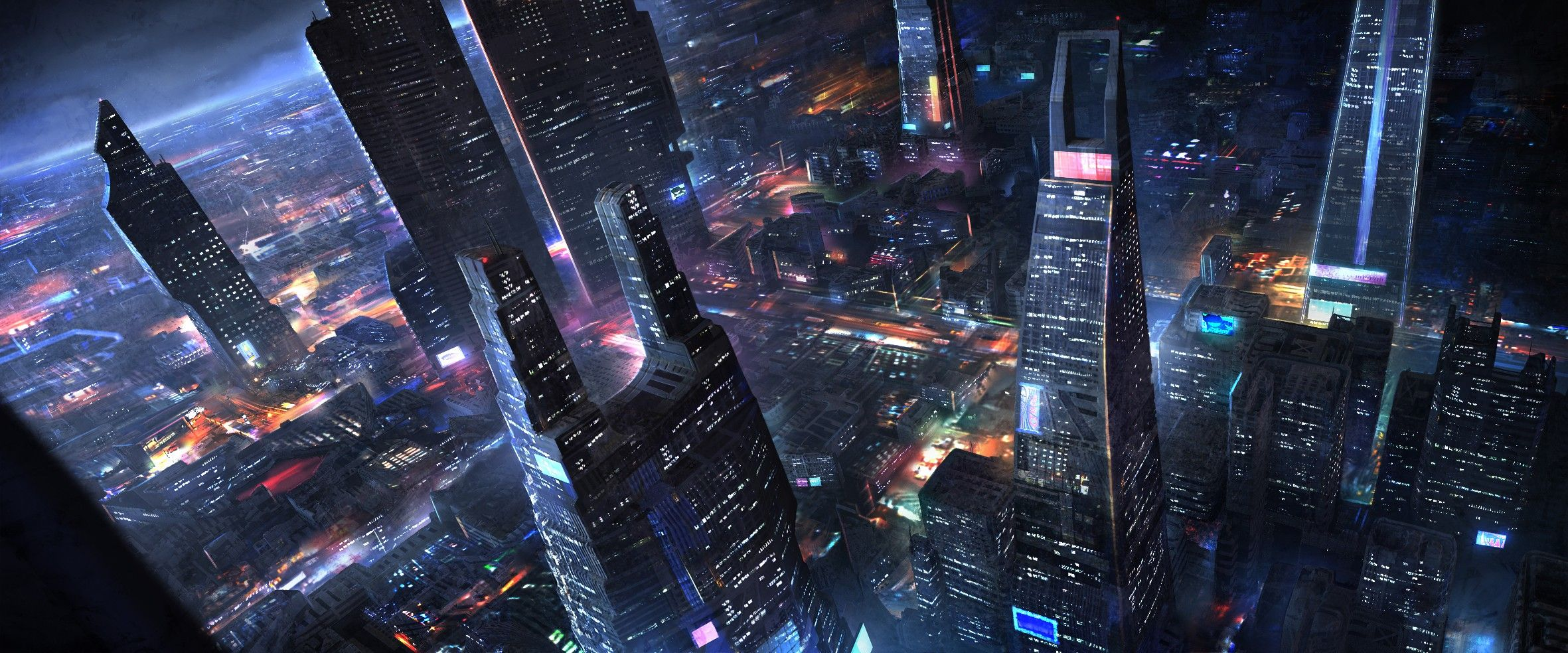 Science Fiction Futuristic City Artwork Wallpaper Ciudad Futurista Ilustracion De Paisaje Futurista