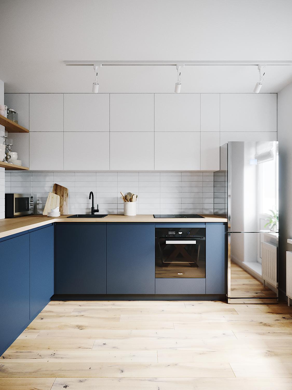 Moderne Küche, blaue Küche mit weißen schlichten Hängeschränken ...