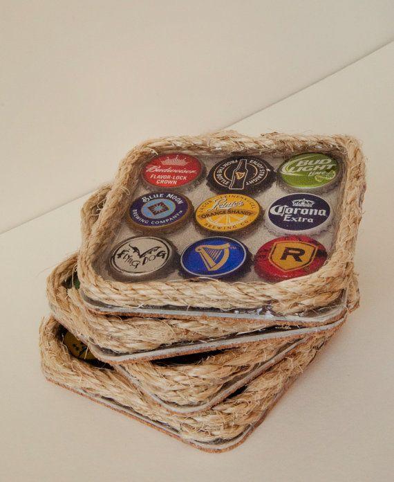 Handmade Beer Bottle Cap Coasters by SarahLorraineDesign ...