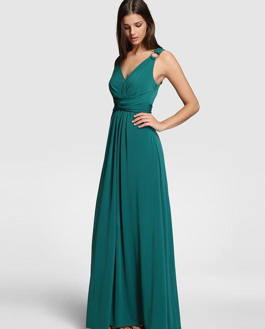 9aed72dca94 Vestido largo en color verde. Sin mangas