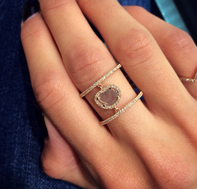 14kt rose gold raw sliced diamond double band ring Luna Skye by