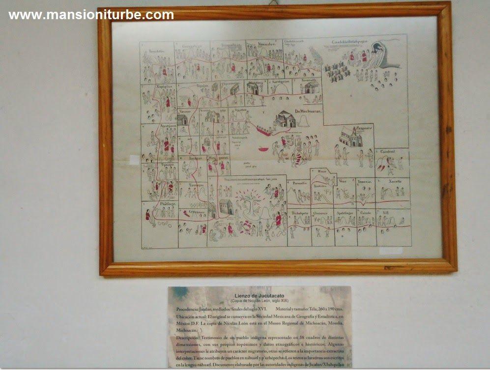 Lienzo de  Jucutacato una copia de este importante documento pictórico, lo puedes admirar en la exposición Códices y Lienzos de Michoacán, en el Museo de Artes e Industrias Populares de Pátzcuaro.