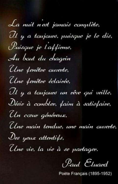 La Nuit Citation Poeme Et Citation Et Eluard