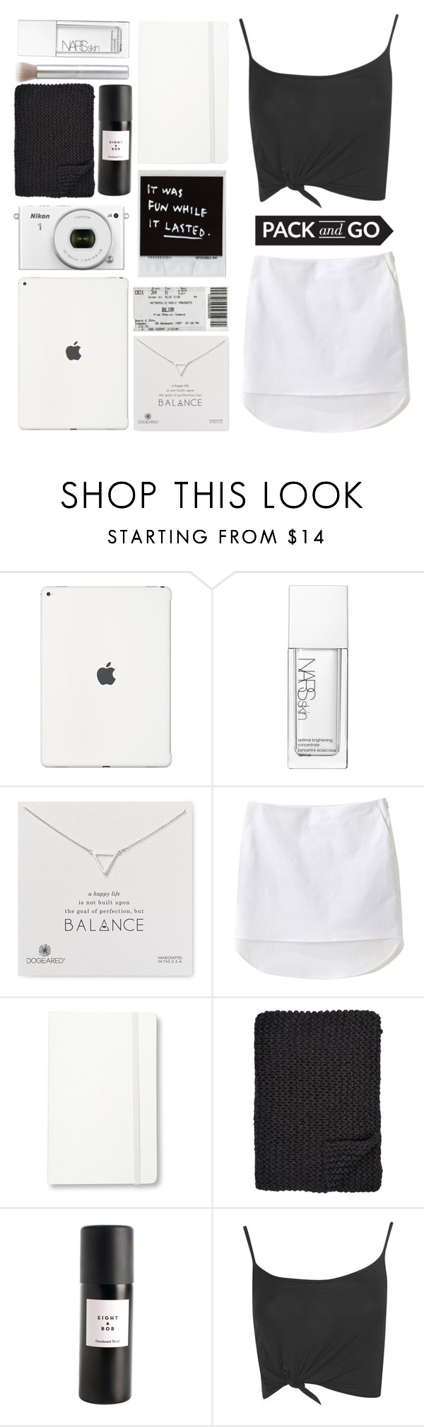 """""""pack and go"""" by anastazia-jae ❤ liked on Polyvore featuring NARS Cosmetics, Dogeared, 3.1 Phillip Lim, Moleskine, Alicia Adams, Eight & Bob and Boohoo"""