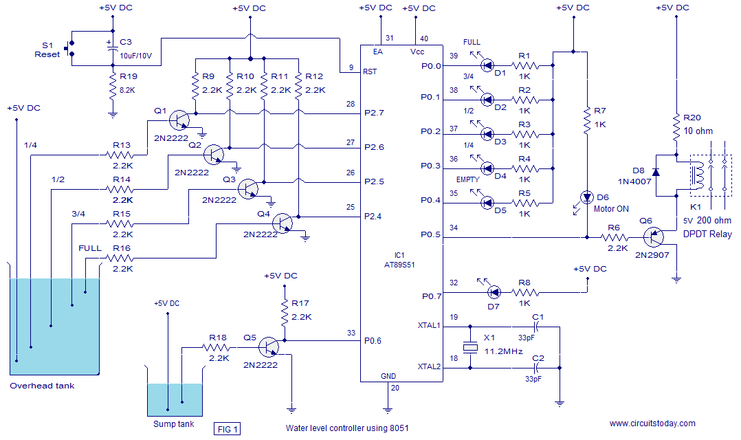 automatic water level controller with microcontroller