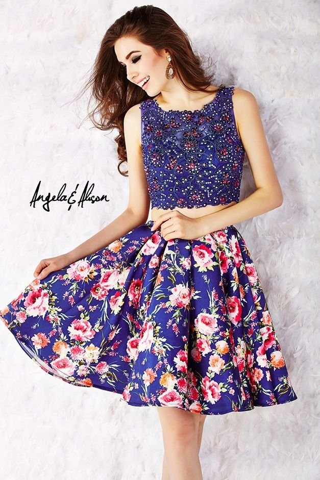 52002 | Angela and Alison | Two piece dress with satin floral skirt ...