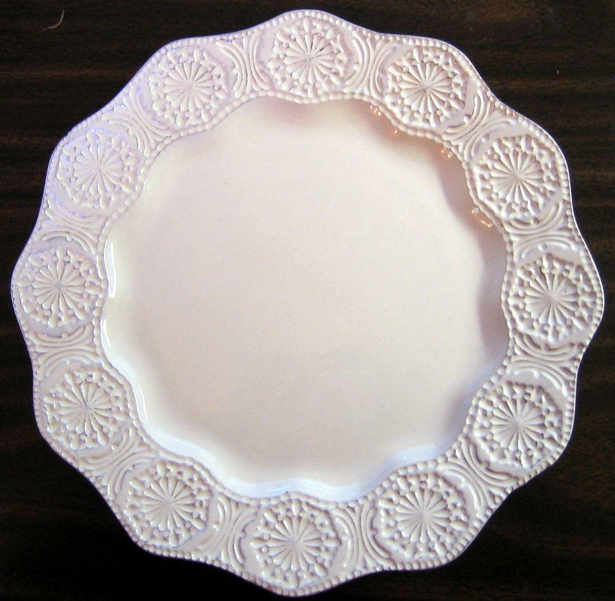 Decorative Plate ... & Decorative Plate - Cream Pottery Textured Medallion Wavy Edge Large ...