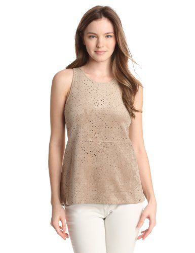 Bcbgmaxazria Women's Caralyn Perforated Ultra Suede Halter, Pumice, Small