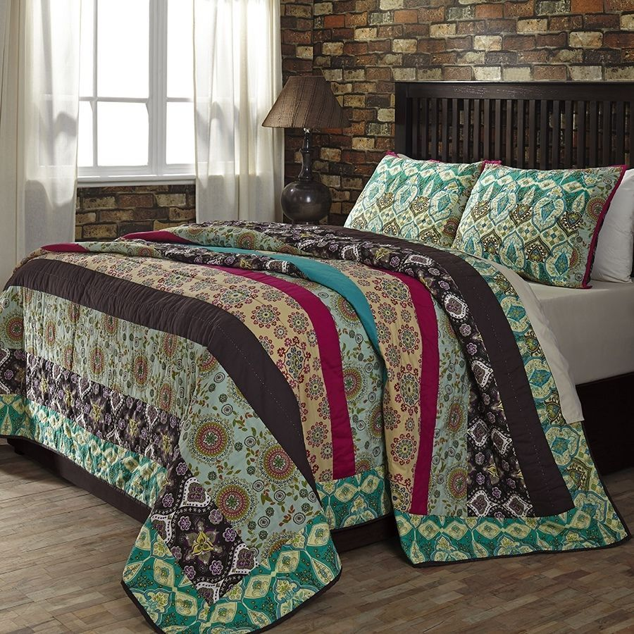 Designer chocolate teal blue red stripes medallions queen king ... : designer quilts bedding - Adamdwight.com