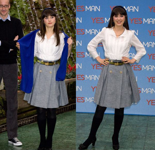 Zooey Deschanel's Full Grey Skirt, white blouse and blue wrap.  Outfit Details: http://wwzdw.com/z/159/ #WWZDW