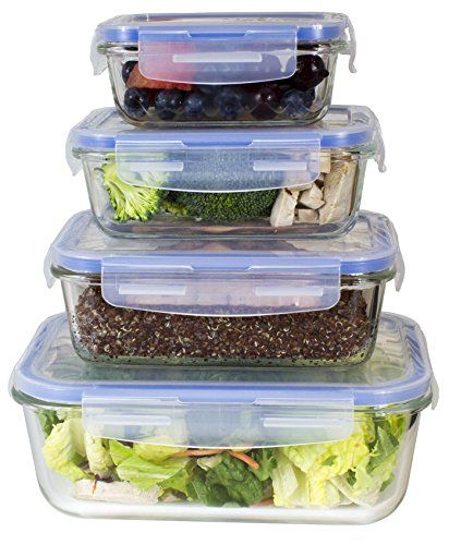 Glass Food Storage Containers With Locking Lids Premium 4 Sets Glass Meal Prep Food Storage Container With Snap