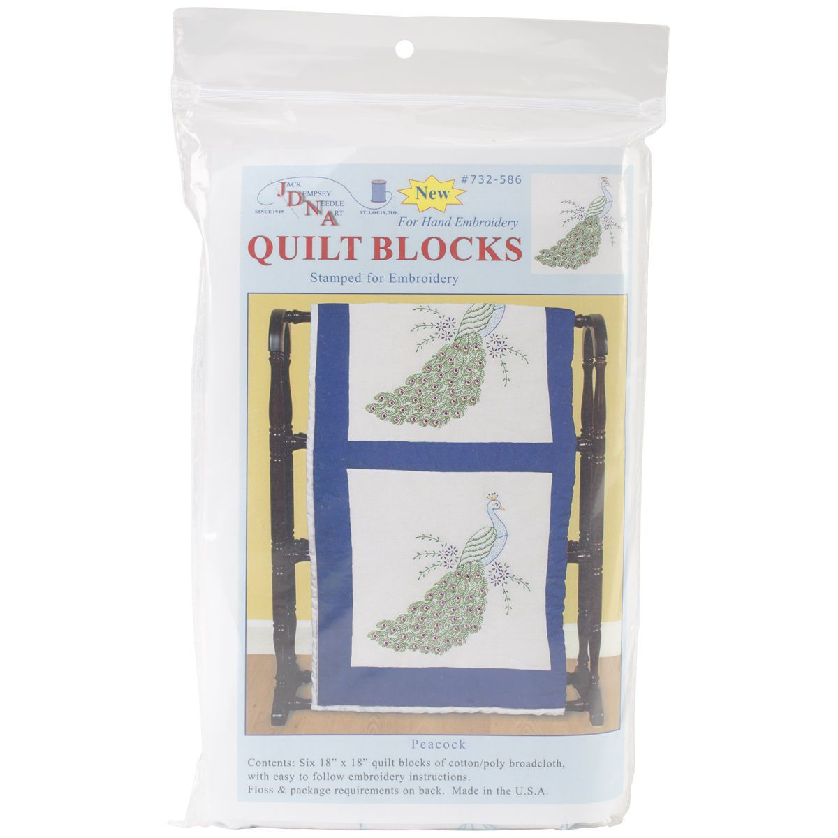 "Stamped White Quilt Blocks 18""X18"" 6/Pkg-Peacock"