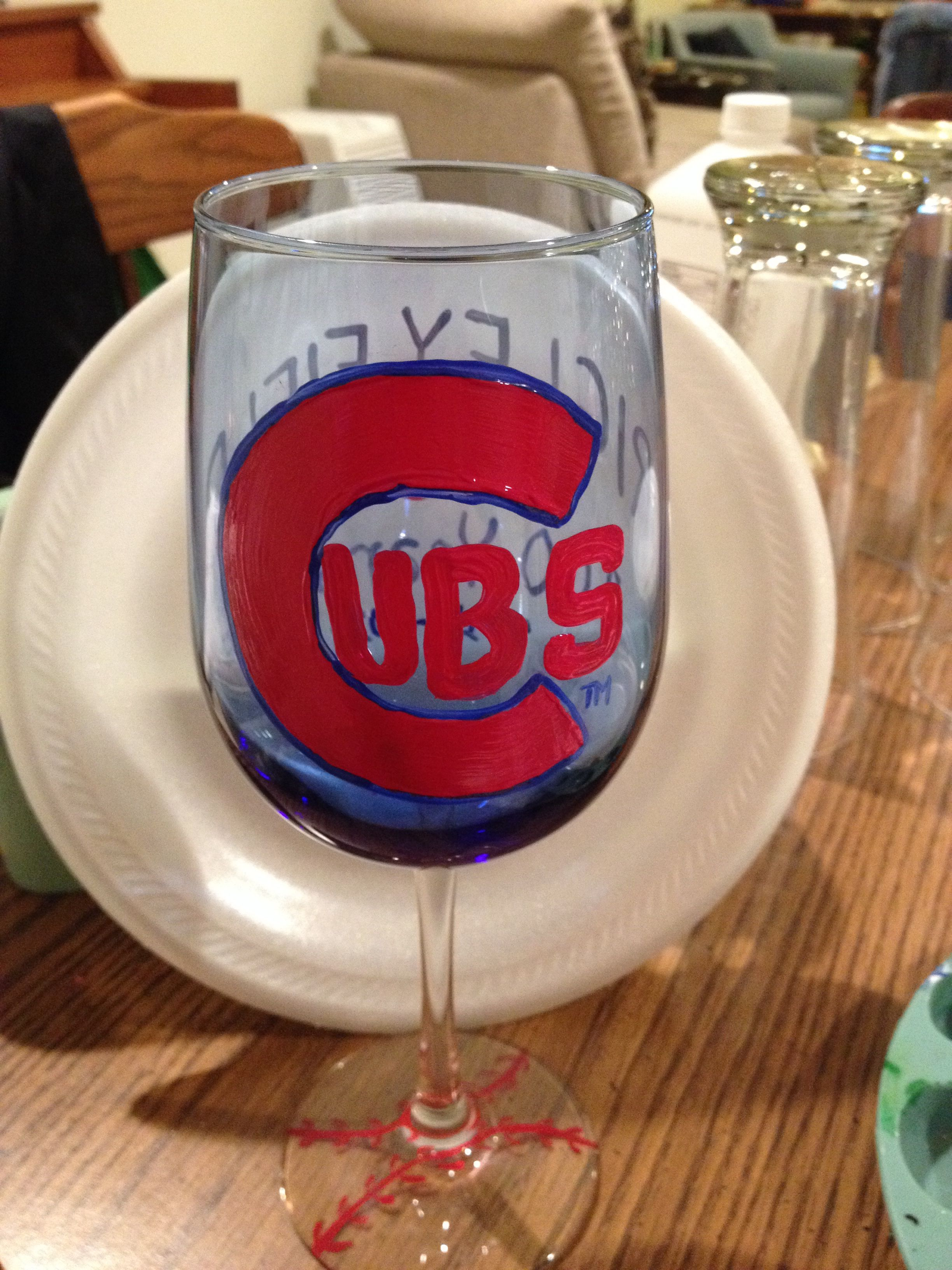 Chicago Cubs All Occasions Wine Glass Logo Side Painting Glassware Hand Painted Glassware Glassware