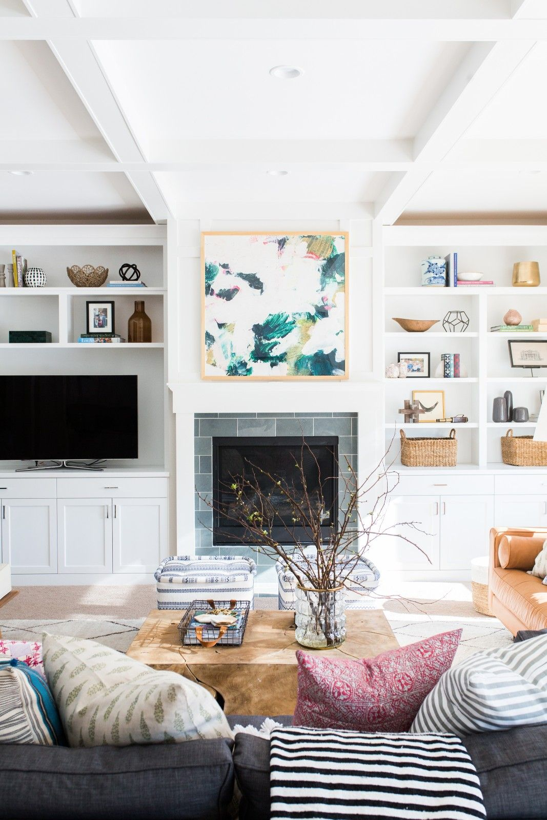 Cove Street Project Reveal Living Room With Fireplace