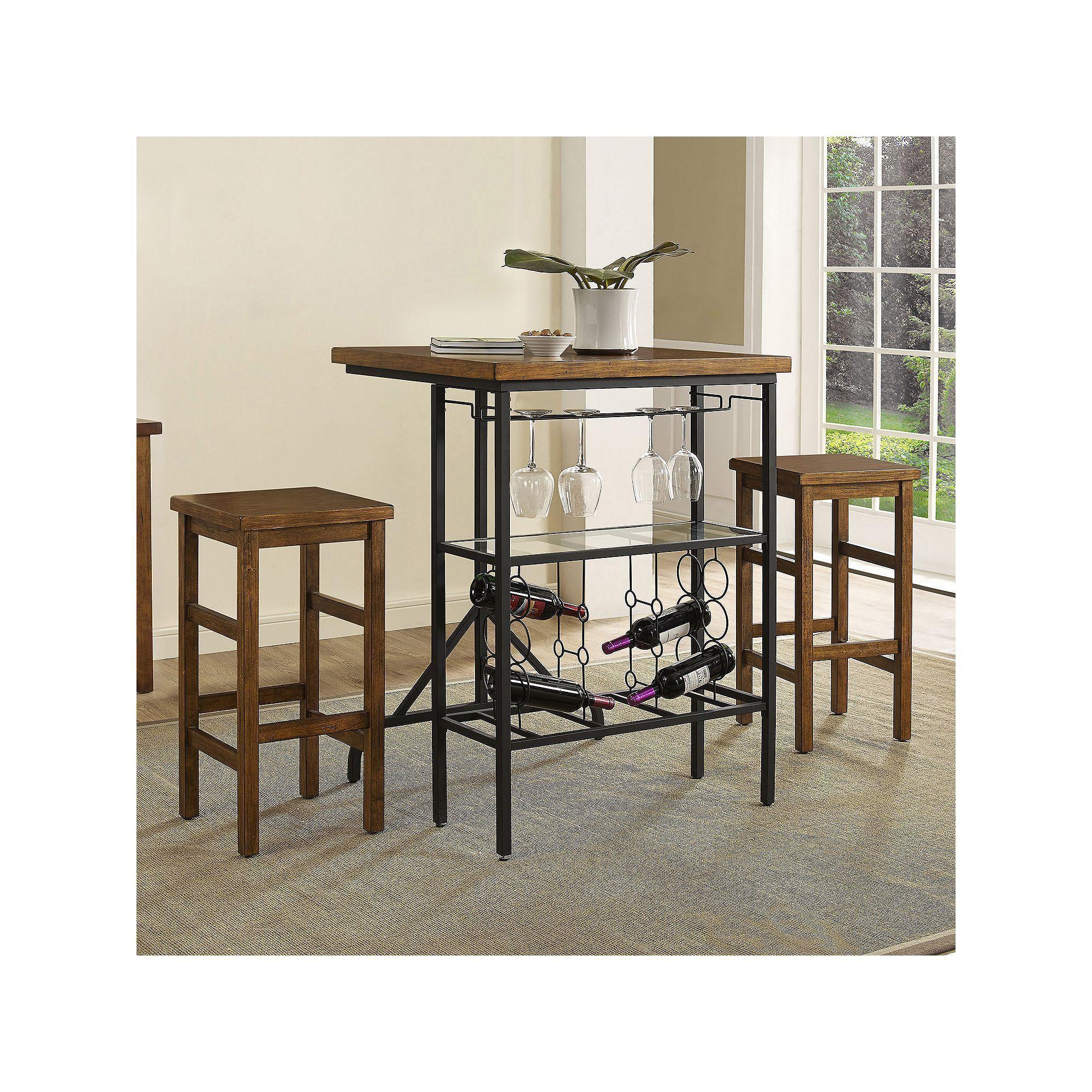 Crosley Furniture Sienna Wine Rack Bistro Table Bar Stool 3 Piece