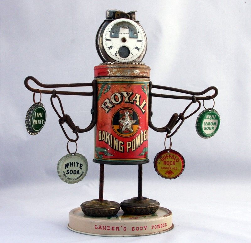 Recycled Art Sculptures | POPSTAR Recycled Robot Assemblage Art Sculpture by jeanettejanson